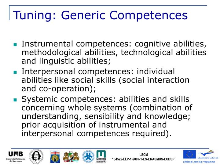 Tuning: Generic Competences