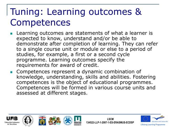 Tuning: Learning outcomes & Competences
