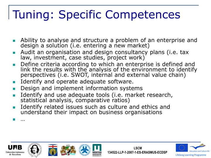 Tuning: Specific Competences