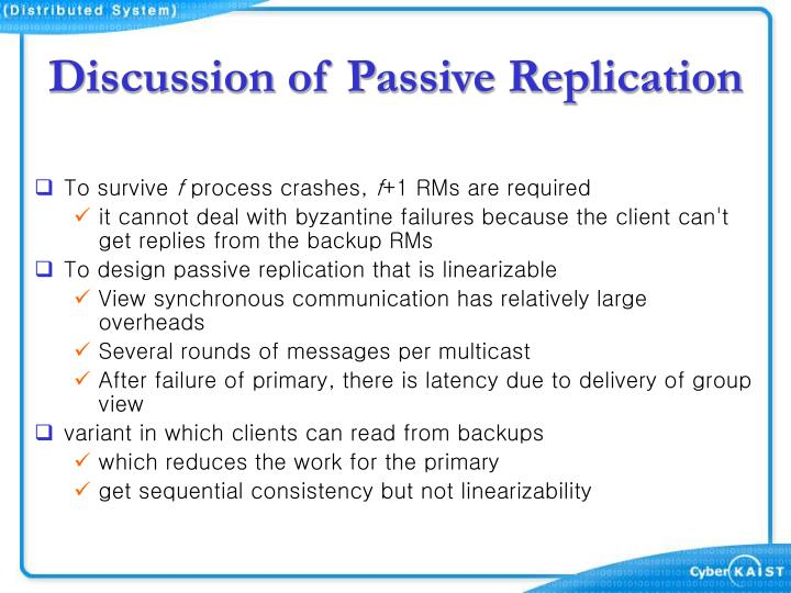 Discussion of Passive Replication