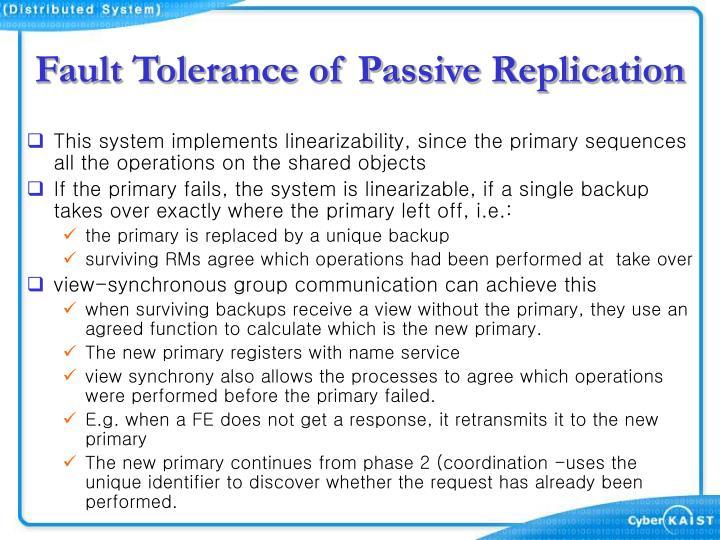 Fault Tolerance of Passive Replication