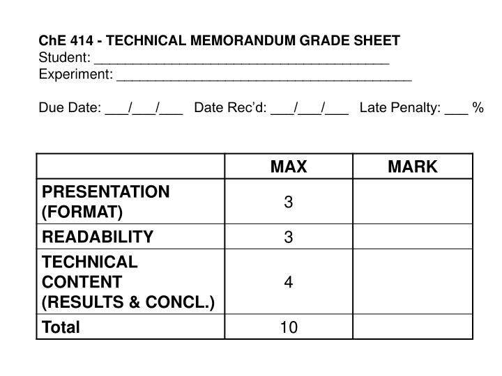 ChE 414 - TECHNICAL MEMORANDUM GRADE SHEET
