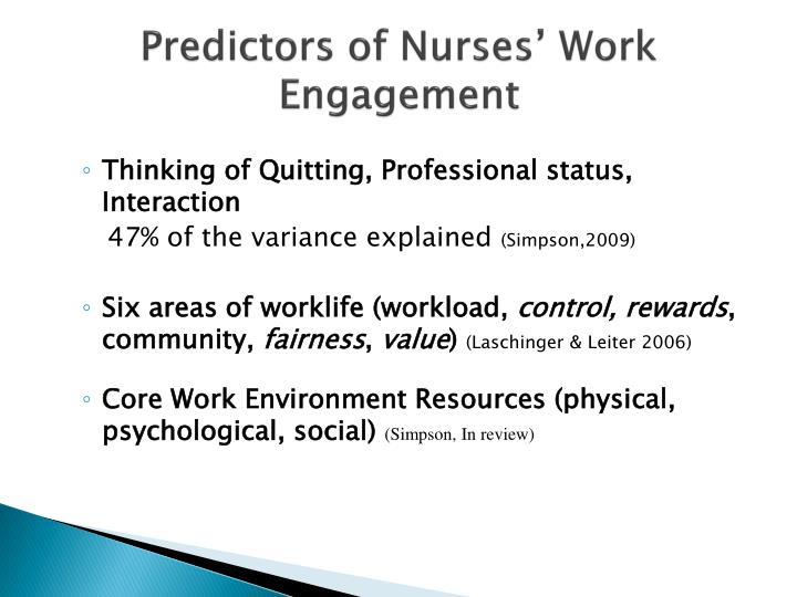 Predictors of Nurses' Work