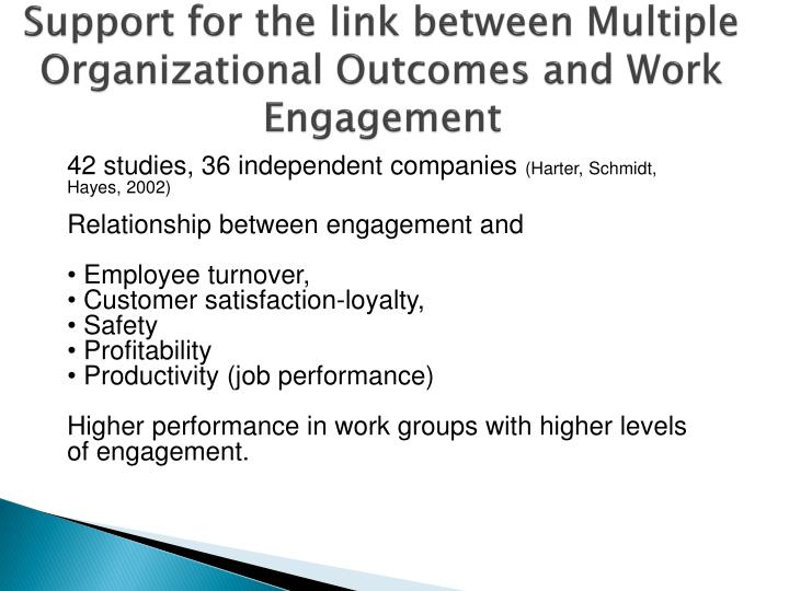 Support for the link between Multiple Organizational Outcomes and Work Engagement