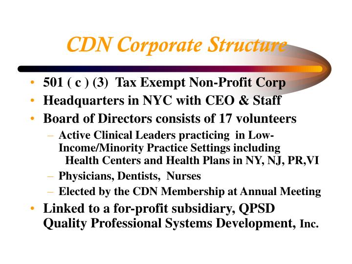 Cdn corporate structure