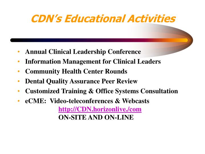 CDN's Educational Activities