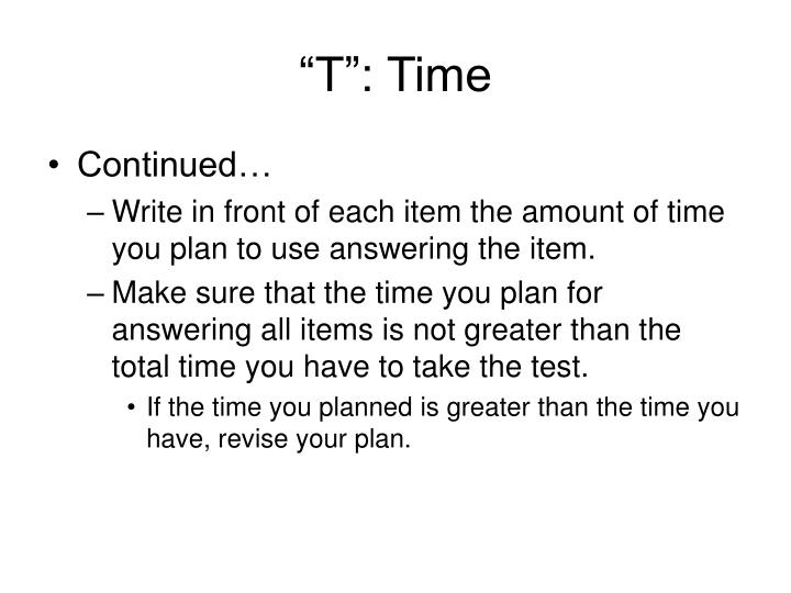 """T"": Time"