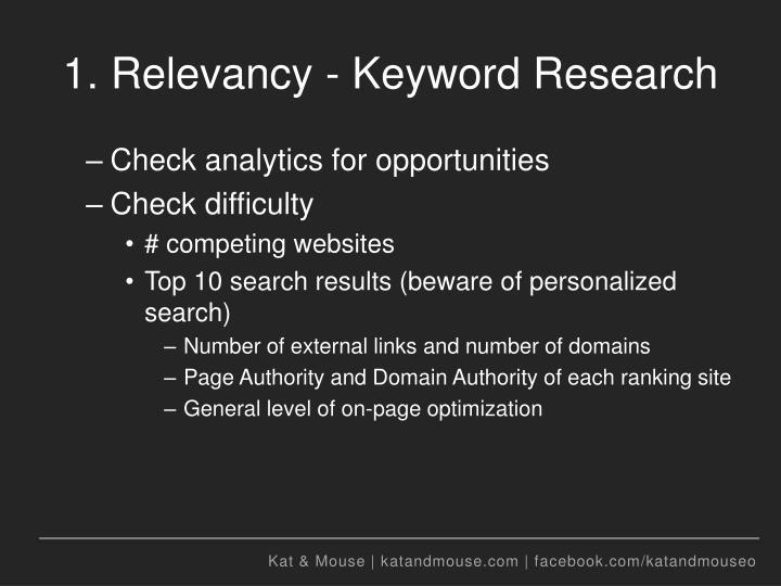 1. Relevancy - Keyword Research