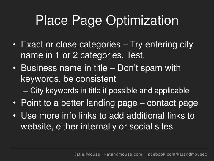 Place Page Optimization