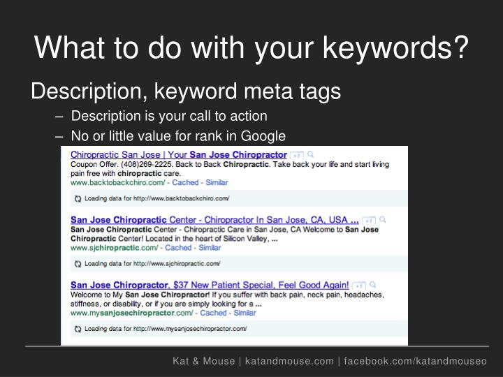 What to do with your keywords?