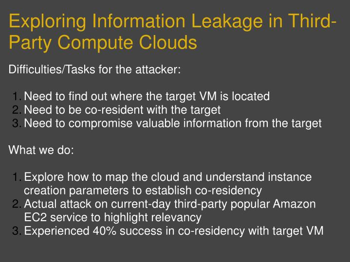Exploring Information Leakage in Third-Party Compute Clouds
