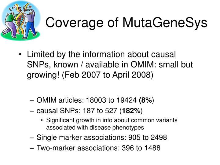 Coverage of MutaGeneSys