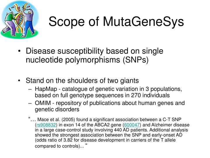 Scope of MutaGeneSys