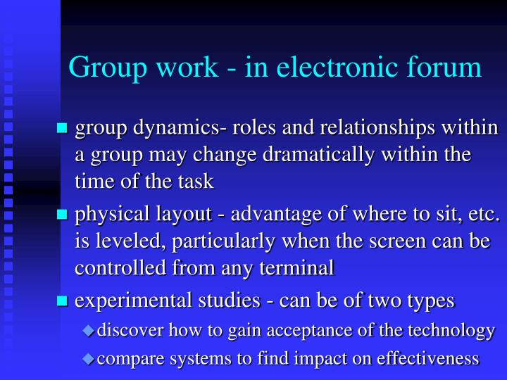 Group work - in electronic forum