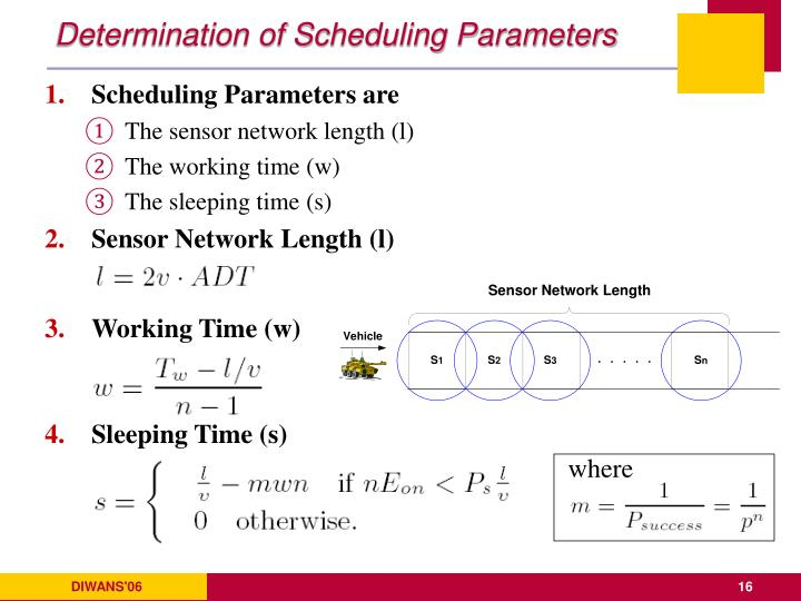 Determination of Scheduling Parameters