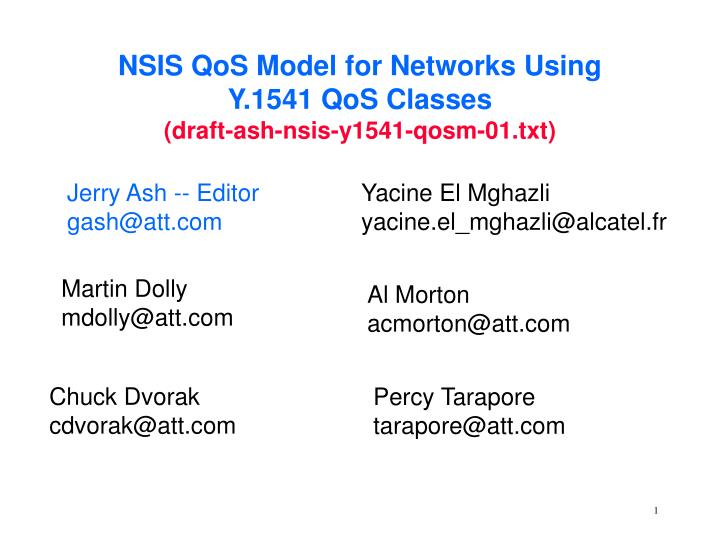 NSIS QoS Model for Networks Using