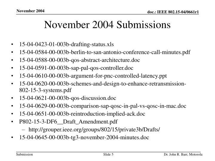 November 2004 Submissions
