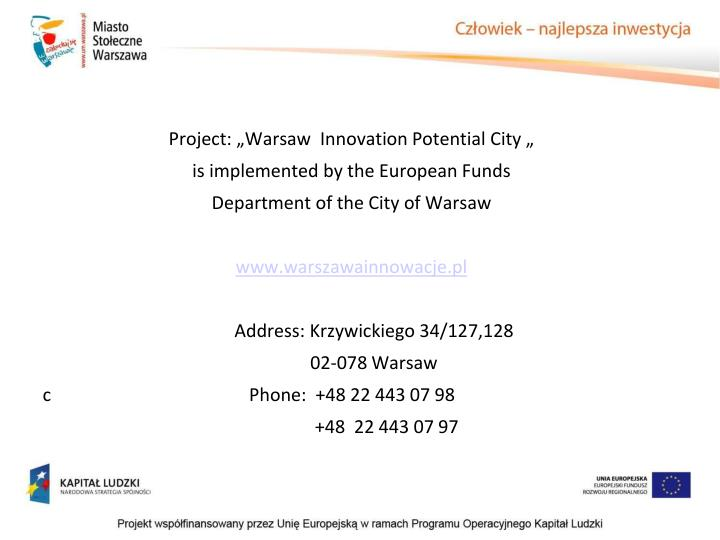 "Project: ""Warsaw"