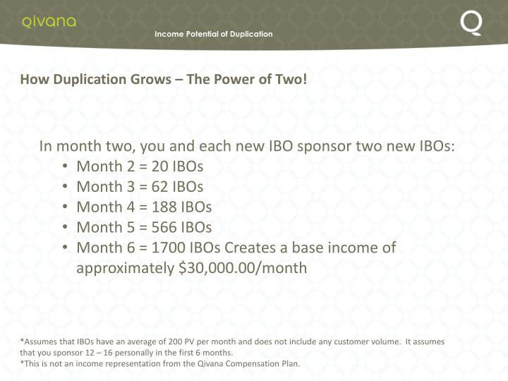 Income Potential of Duplication