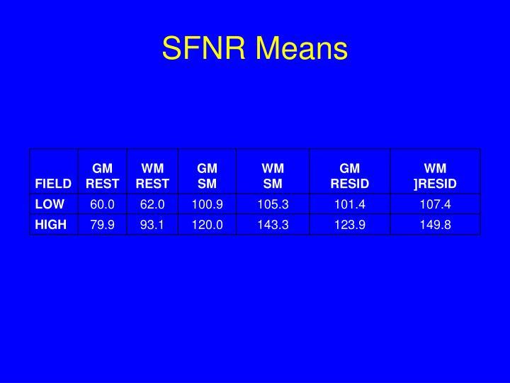 SFNR Means