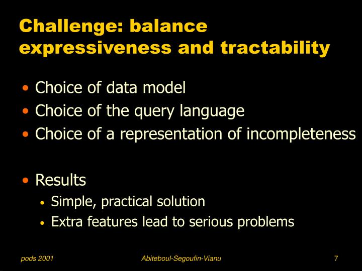 Challenge: balance expressiveness and tractability