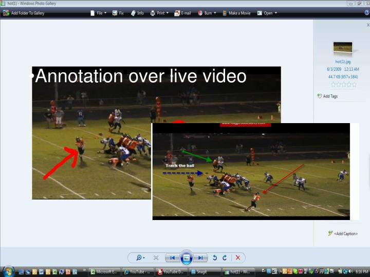 Annotation over live video