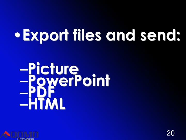 Export files and send: