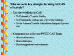 what are some key strategies for using az cas effectively1