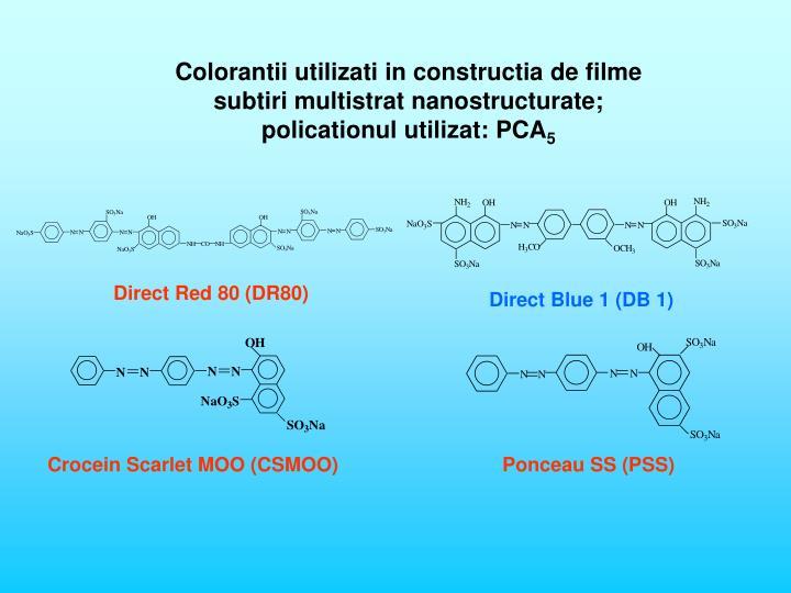 Colorantii utilizati in constructia de filme subtiri multistrat nanostructurate;