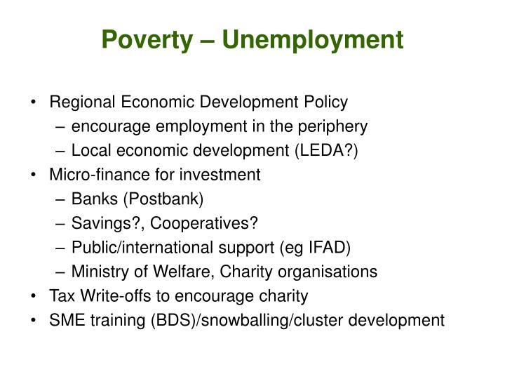 Poverty – Unemployment
