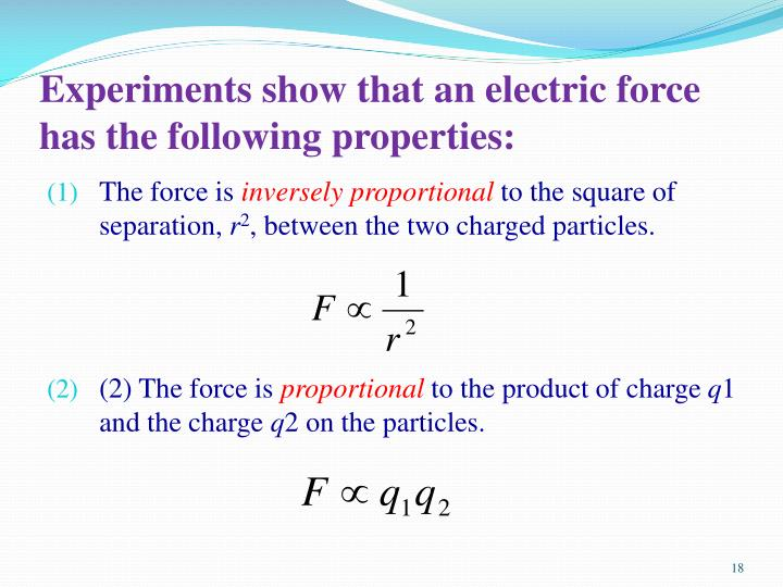 an overview of experiments on electric force Michael faraday, in his electrolysis experiments static electricity refers to the electric charge of an object and the related electrostatic discharge when two objects are brought together that are not at equilibrium no force, either of attraction.