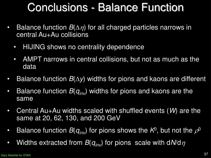 Conclusions - Balance Function