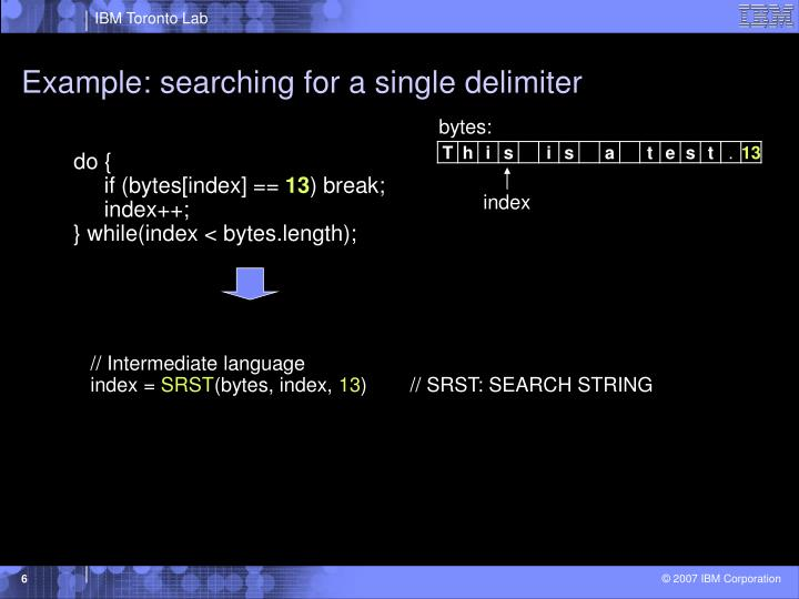 Example: searching for a single delimiter