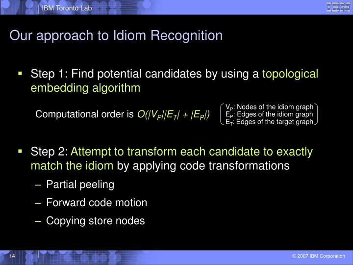 Our approach to Idiom Recognition