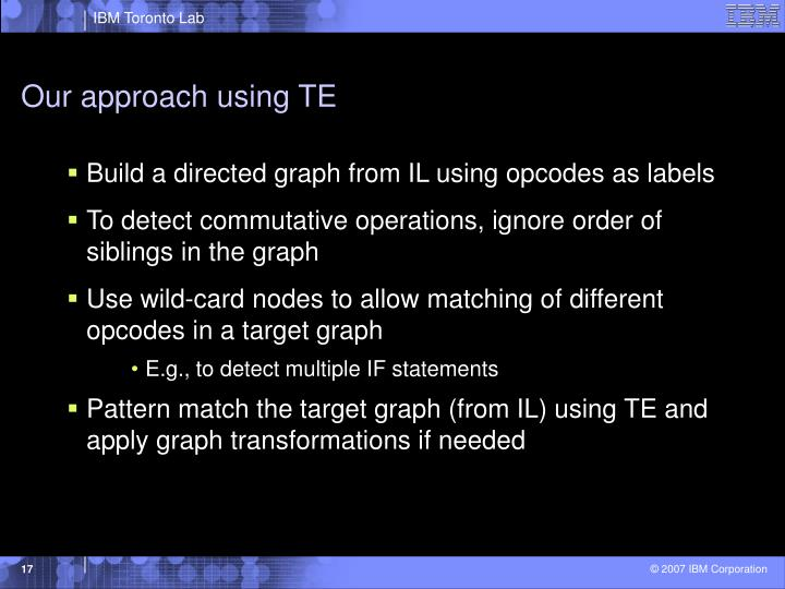 Our approach using TE
