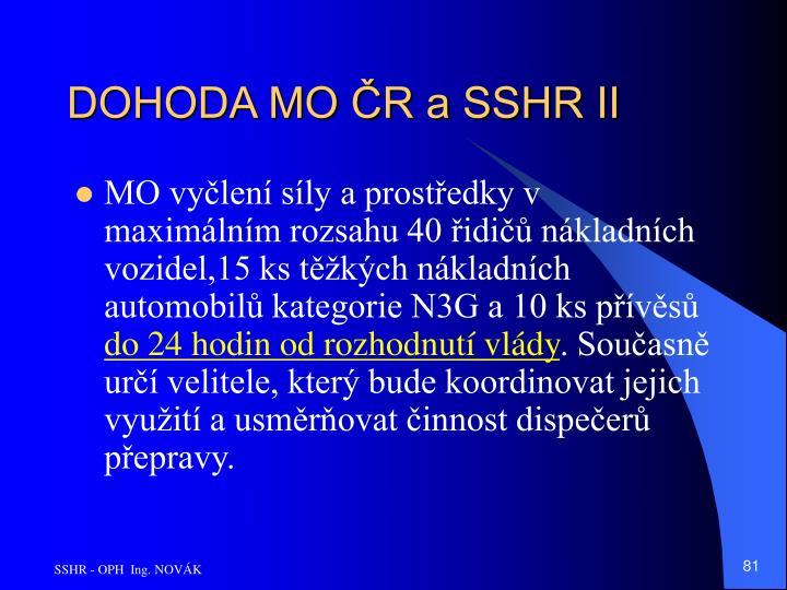 DOHODA MO ČR a SSHR II