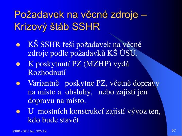 Požadavek na věcné zdroje – Krizový štáb SSHR