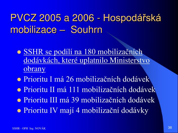 PVCZ 2005 a 2006 - Hospodářská mobilizace –  Souhrn