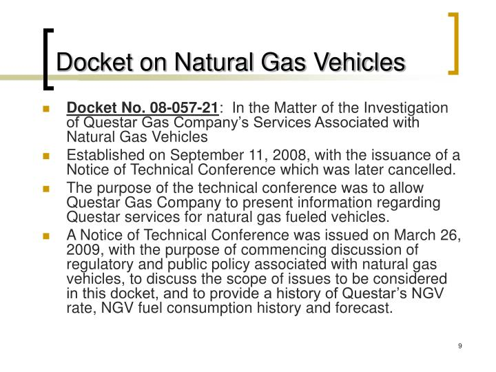 Docket on Natural Gas Vehicles