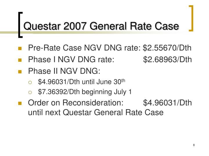 Questar 2007 General Rate Case