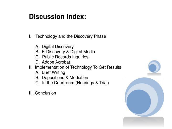 Discussion Index: