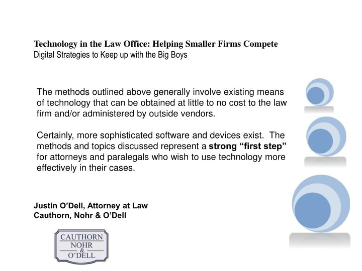 Technology in the Law Office: Helping Smaller Firms Compete