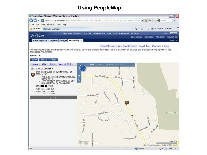 Using PeopleMap: