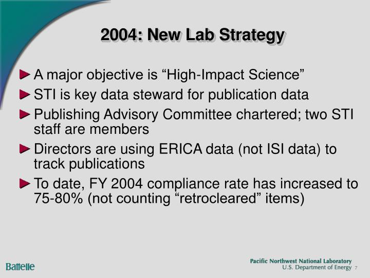 2004: New Lab Strategy