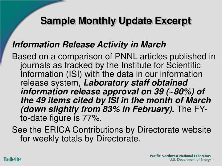 Sample Monthly Update Excerpt