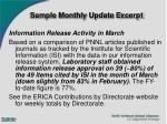 sample monthly update excerpt