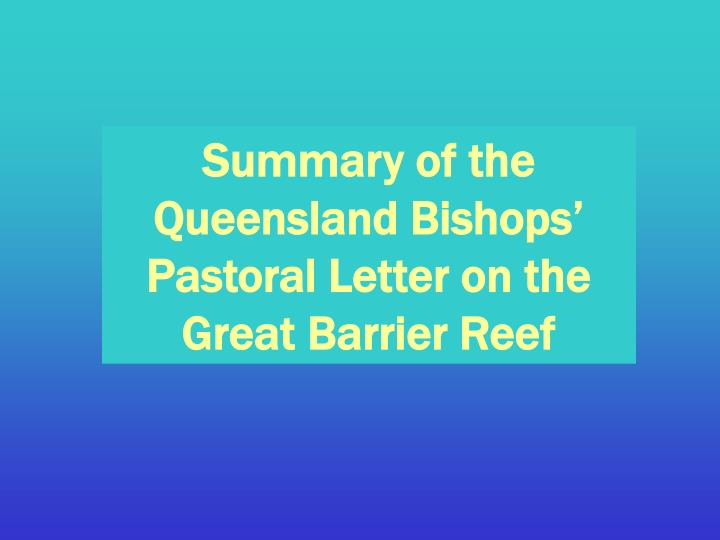 Summary of the Queensland Bishops' Pastoral Letter on the Great Barrier Reef