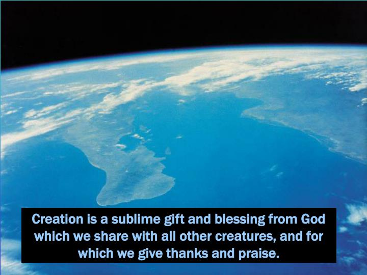 Creation is a sublime gift and blessing from God which we share with all other creatures, and for which we give thanks and praise.