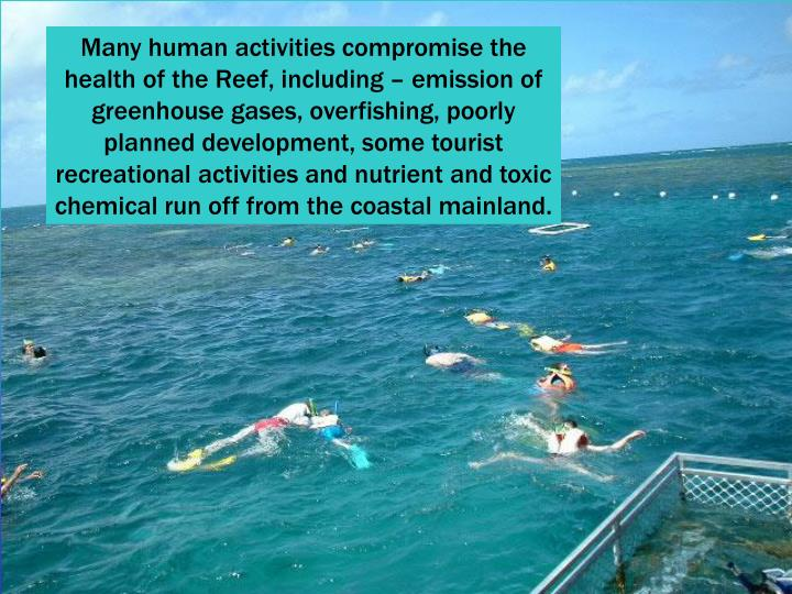 Many human activities compromise the health of the Reef, including – emission of greenhouse gases, overfishing, poorly planned development, some tourist recreational activities and nutrient and toxic chemical run off from the coastal mainland.