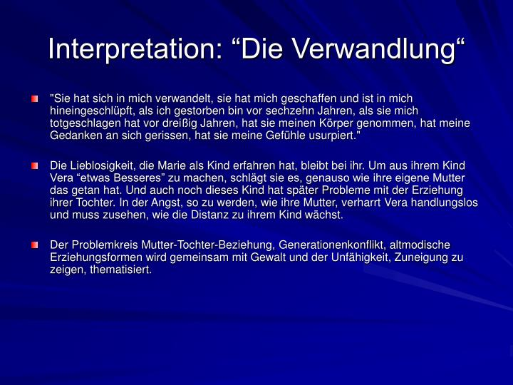 "Interpretation: ""Die Verwandlung"""